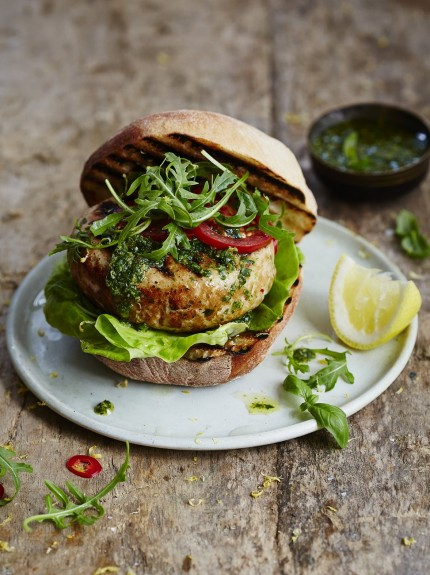 Tuna Burger with Zingy Lemon and Herbs. Photo by jamieoliver.com.